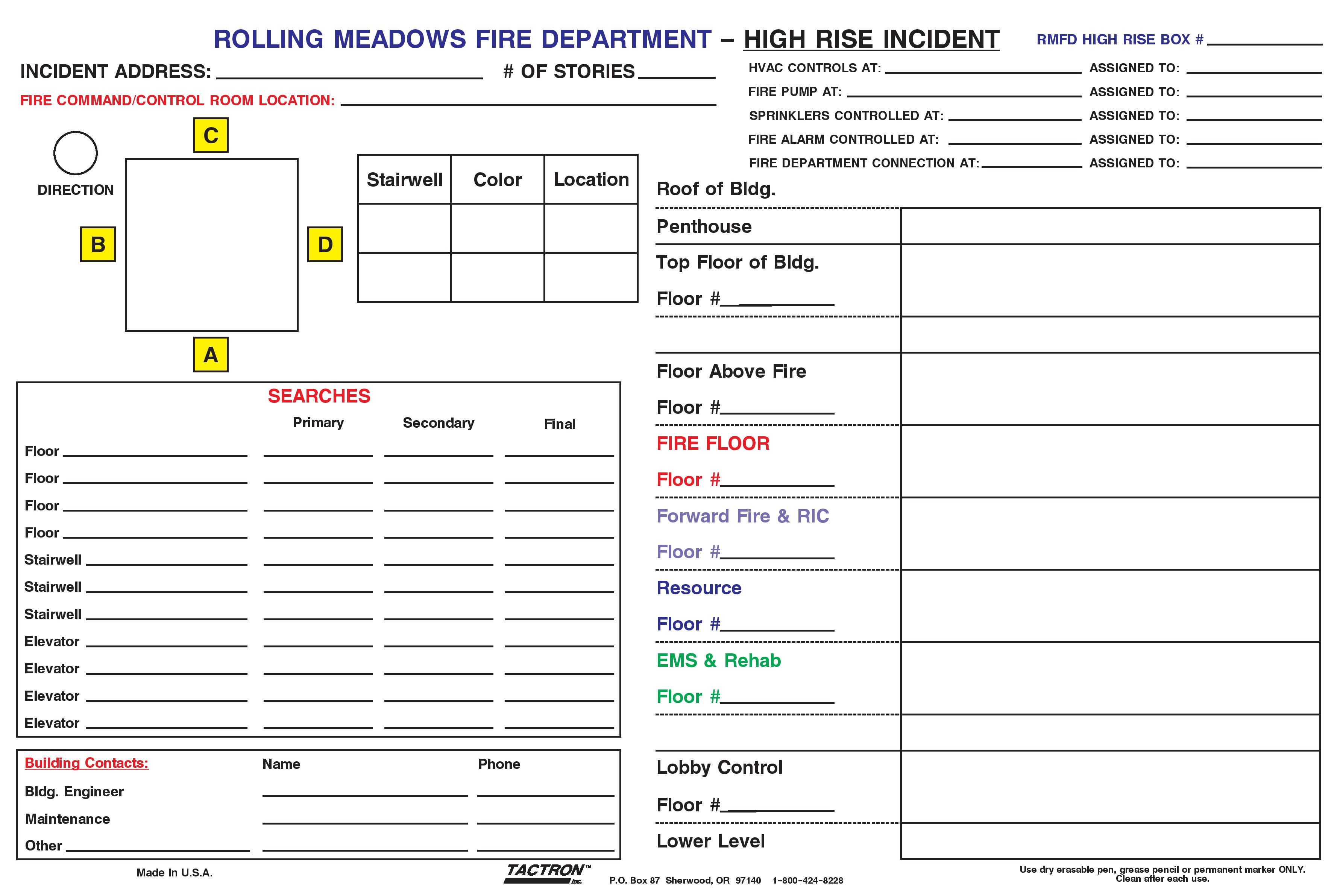 Custom Board on Fireground Tactical Worksheet